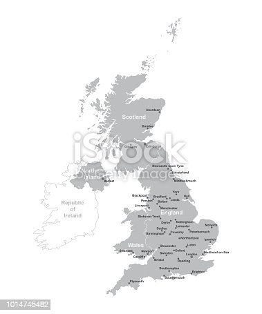 UNITED KINGDOM MAP with big cities, UK MAP with borders on grey background.
