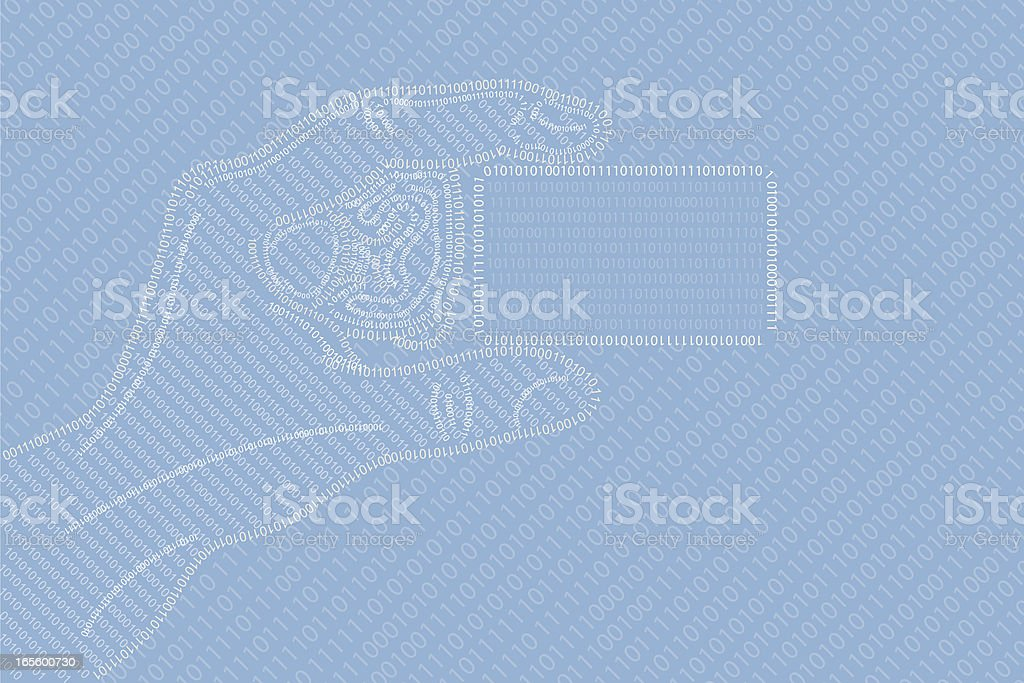 With binary code business card in a hand royalty-free stock vector art