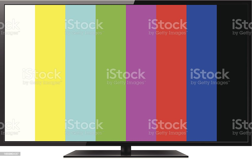LCD TV with color bars royalty-free stock vector art