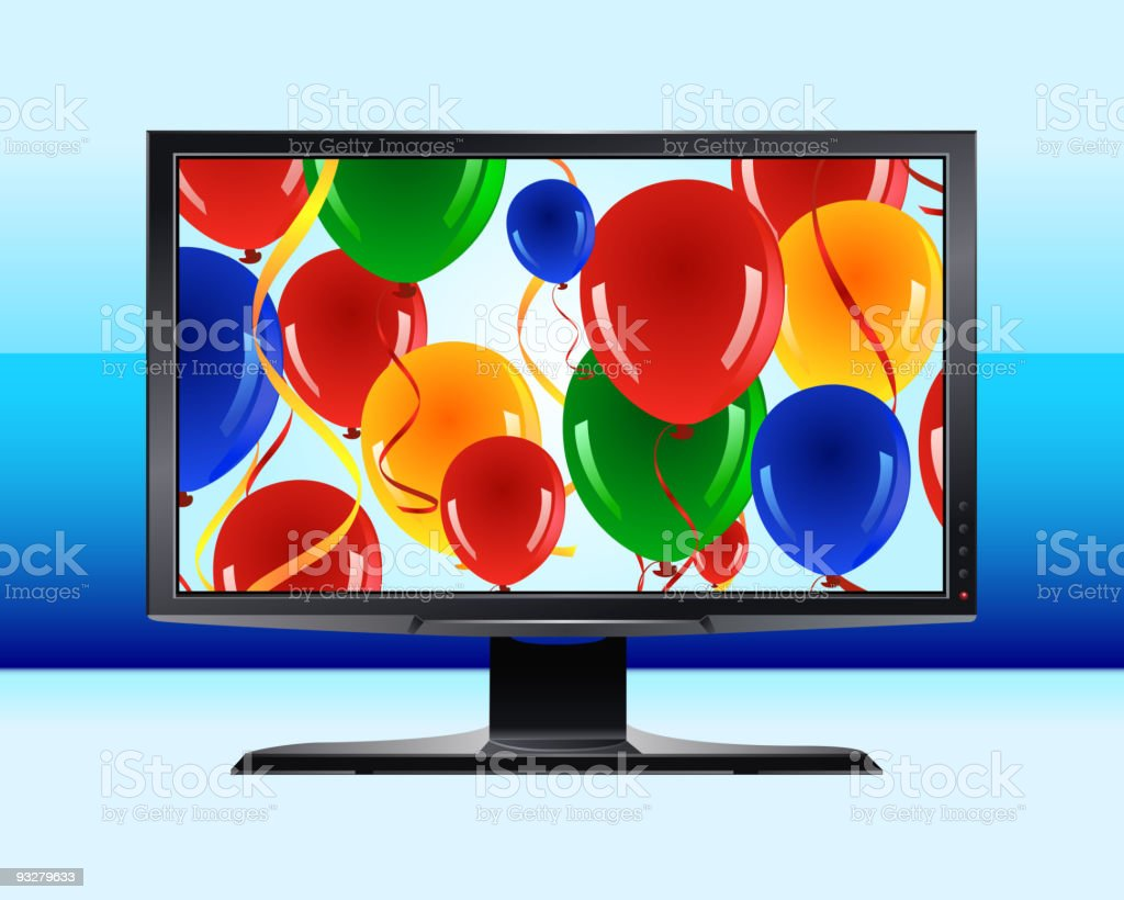 HDTV with Colorful Display royalty-free stock vector art