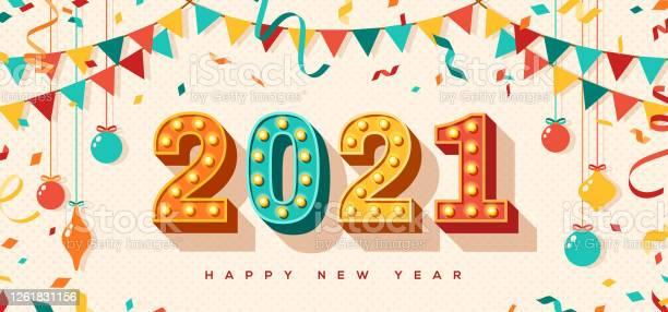 2021 With Confetti And Baubles - Immagini vettoriali stock e altre immagini di 2021