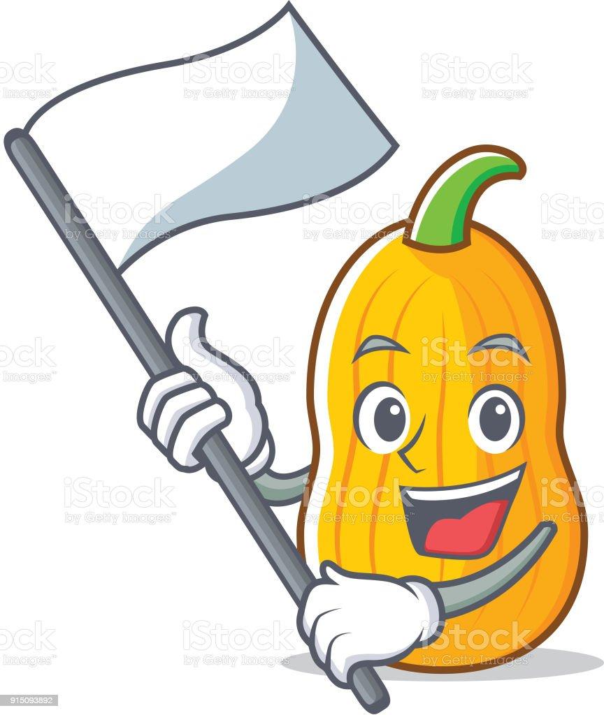 Avec dessin anim mascotte de courge butternut au drapeau vecteurs libres de droits et plus d - Dessin courge ...