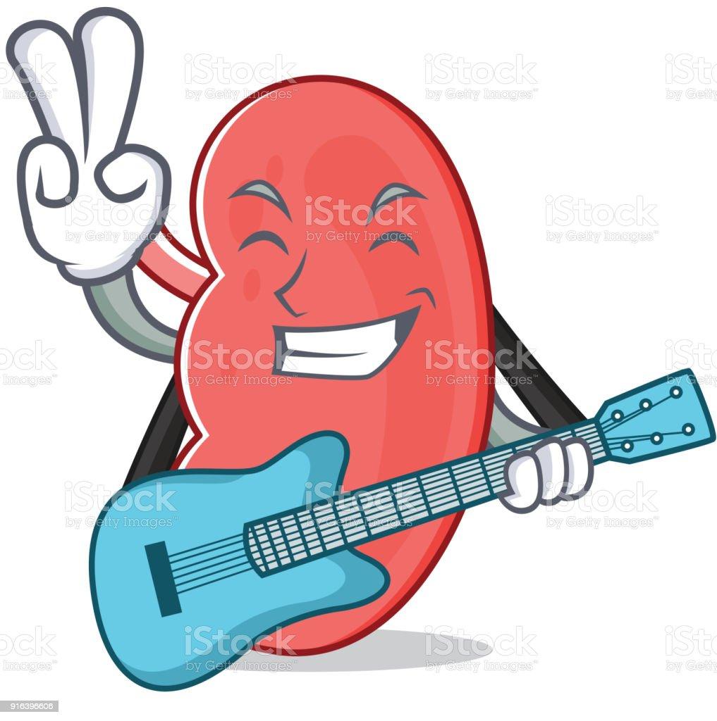Mit Gitarrenieremaskottchencartoonstil Stock Vektor Art und mehr ...