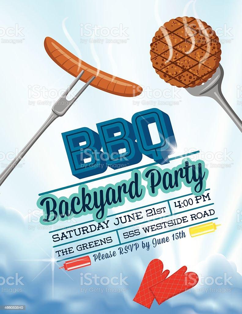 BBQ With Hamburger And Hotdog Sky Invitation Template vector art illustration