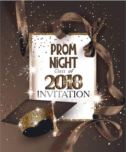 ilustrações, clipart, desenhos animados e ícones de prom night 2018, com chapéu, fita, moldura dourada e confetes. ilustração vetorial - baile de graduação