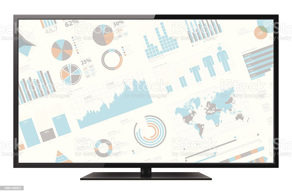 LCD TV with infographic screen vector art illustration