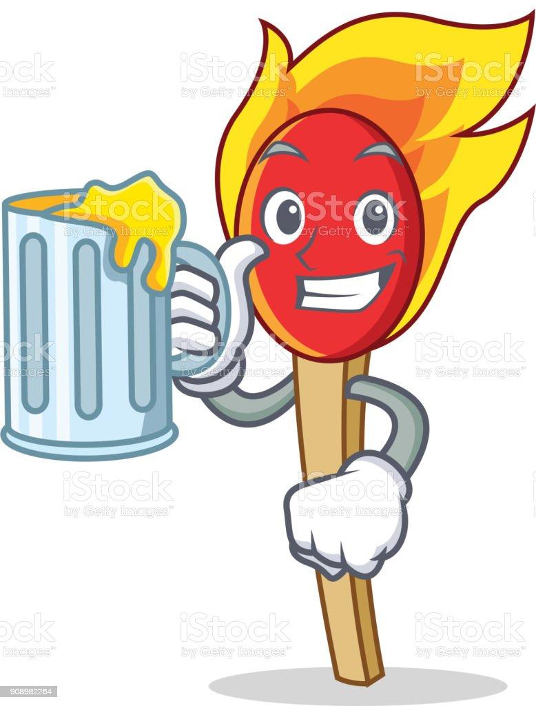 With Juice Match Stick Mascot Cartoon Stock Illustration
