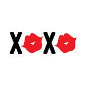 XOXO with lips. Vector sign on white background