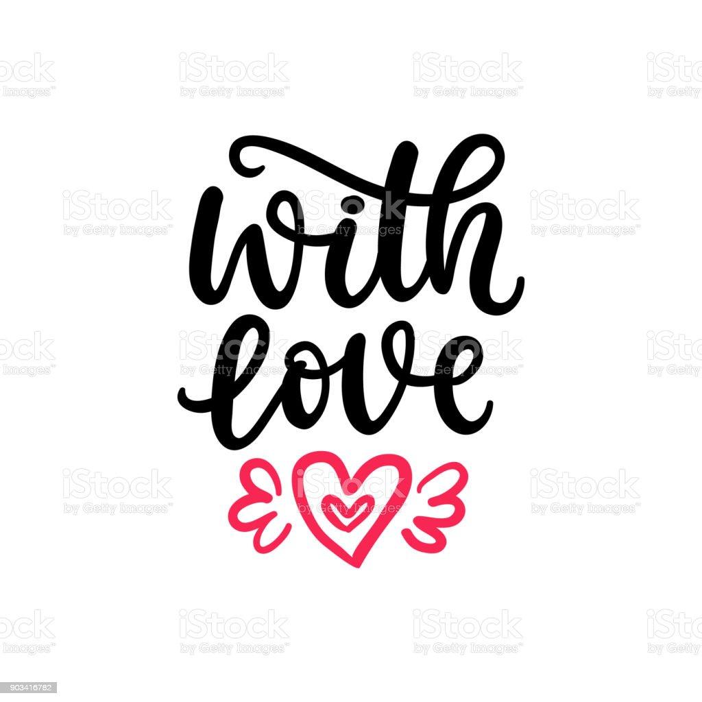 Mit Liebe Handgeschriebenen Schriftzug Für Valentinstag Geschenktag ...