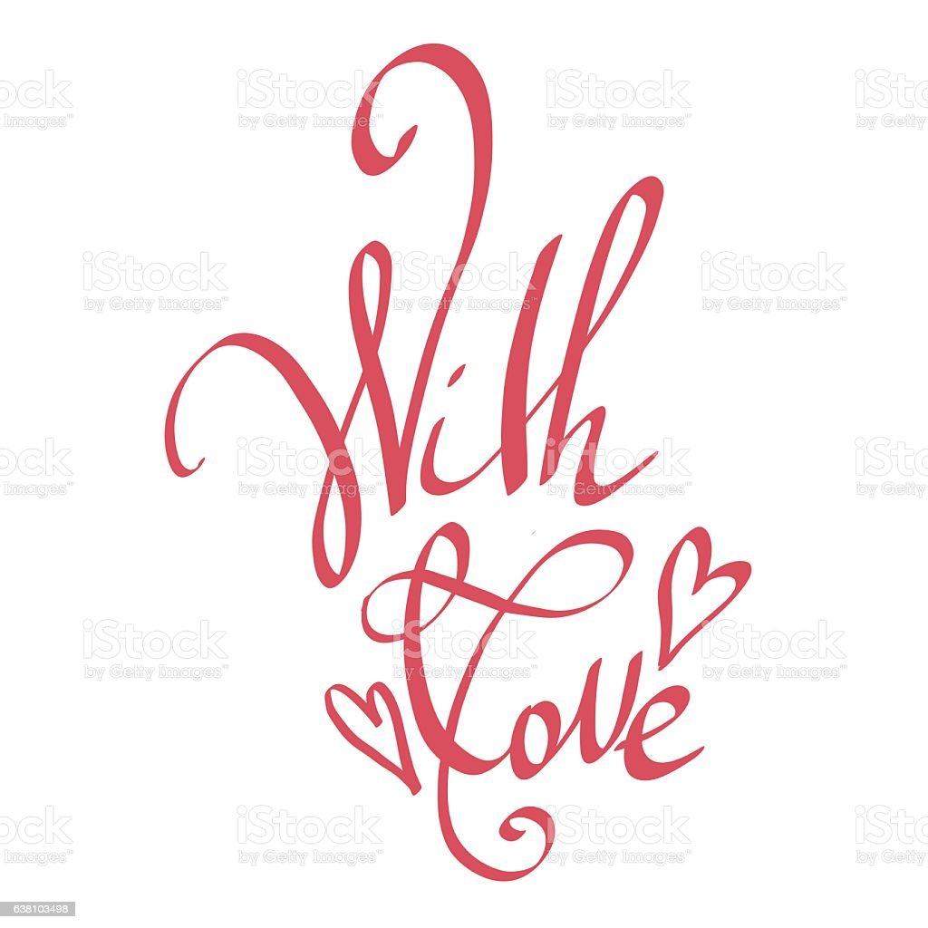 With Love Happy Valentines Day Lettering Card Stock Vector Art