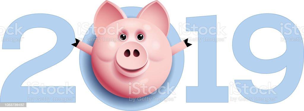 2019 mit Schweinekopf. Chinesische Neujahrsgrüße – Vektorgrafik
