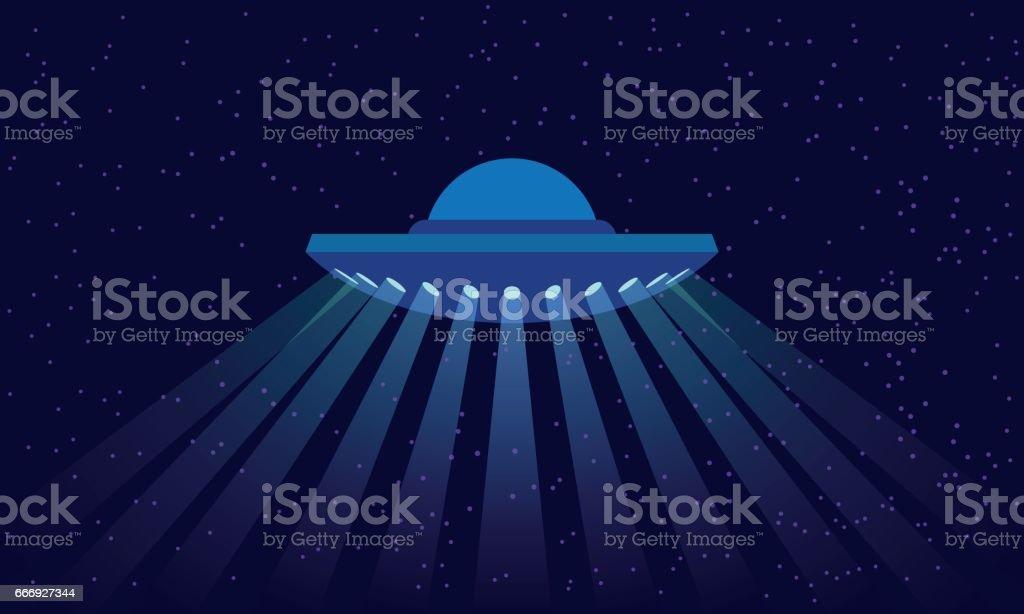 Ufo Uzay Arka Plan üzerinde ışık ışınları Ile Uzay Gemisi çizimde