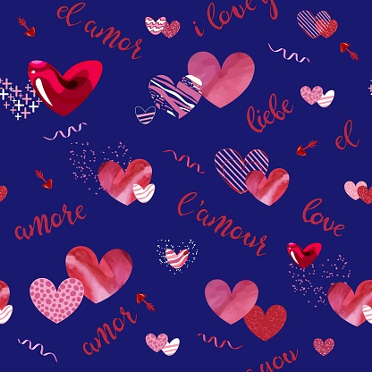 with red and pink hearts in various styles with word love written in different languages isolated on the blue background. Vector illustration