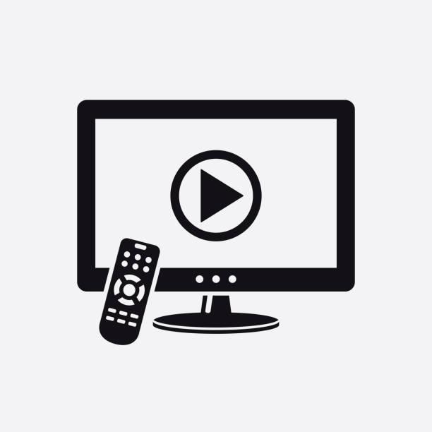 TV mit Fernbedienung und Wiedergabe-Taste auf dem Bildschirm-Symbol – Vektorgrafik