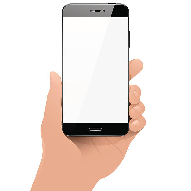 with smart phone in hand - hand holding phone stock illustrations