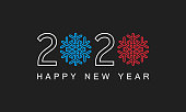 2020 with snowflakes and text happy new year, greetings poster or card with dark background, vector illustration