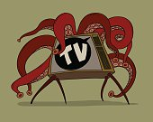 TV with tentacles t-shirt print