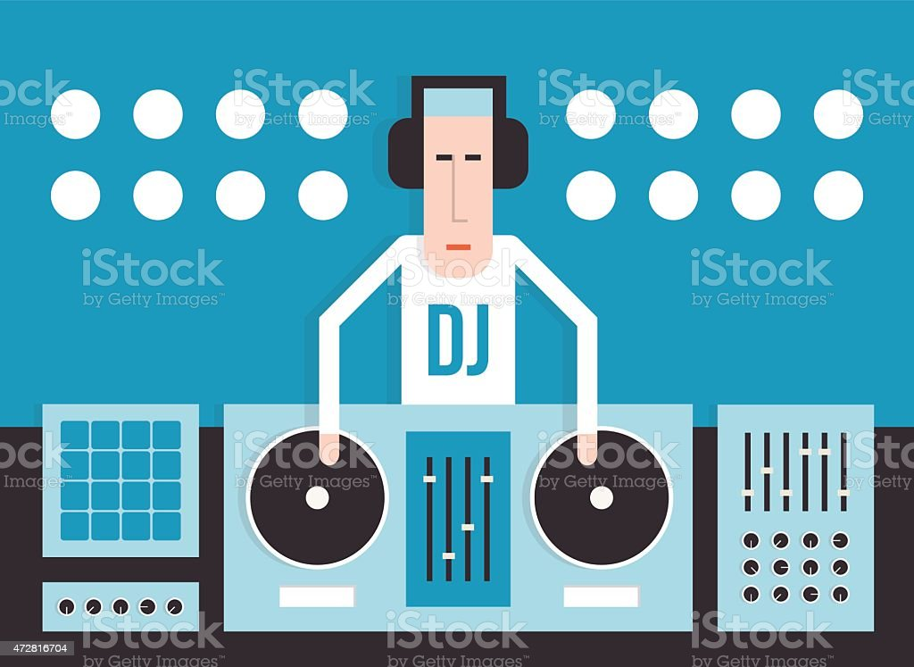 DJ with turntables vector art illustration