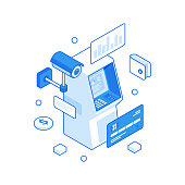 Withdraw money from ATM with credit account isometric illustration. Issuance finance from electronic terminal and replenishment deposit. Protection with security cameras transactions vector concept.