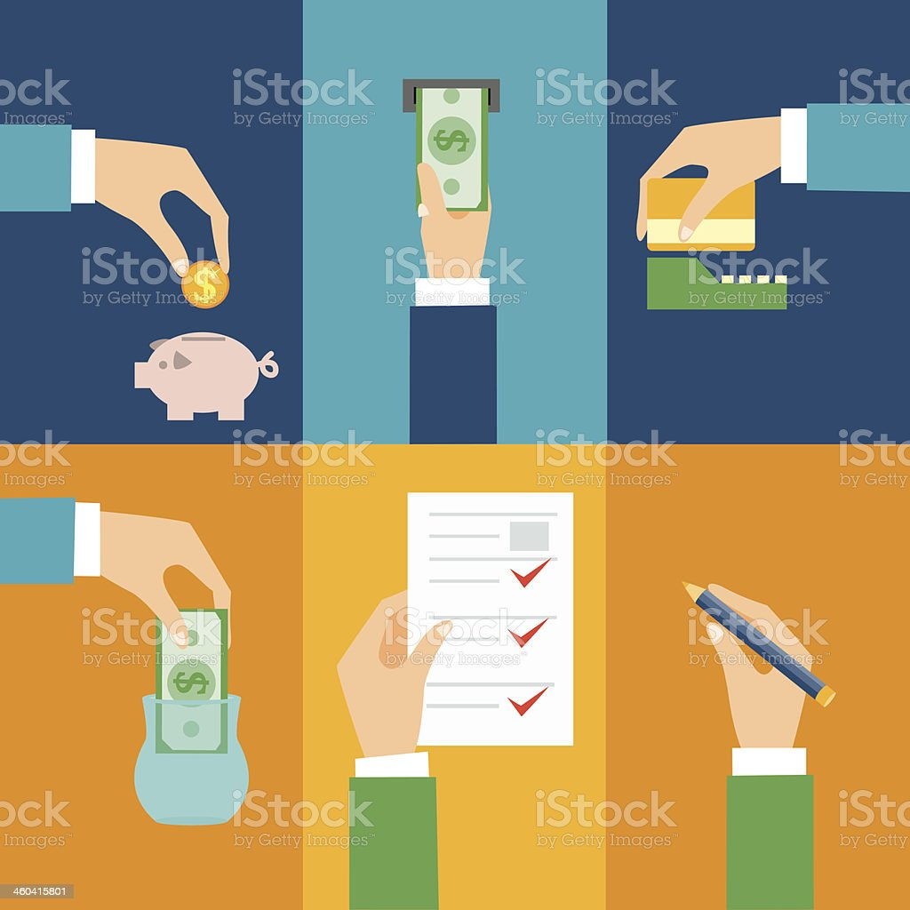 withdraw money vector art illustration