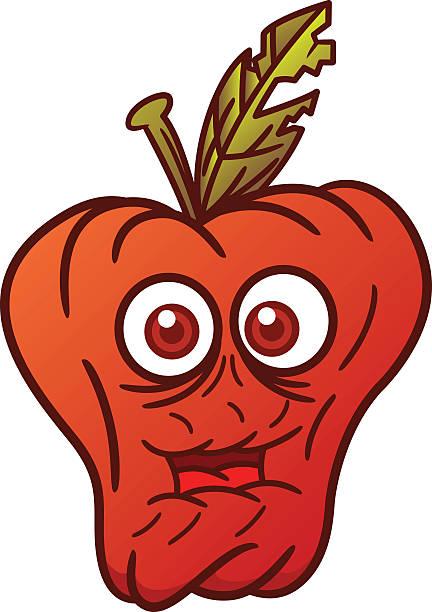 withered apple cartoon illustration - rotten apple stock illustrations, clip art, cartoons, & icons