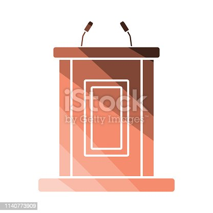 Witness stand icon. Flat color design. Vector illustration.