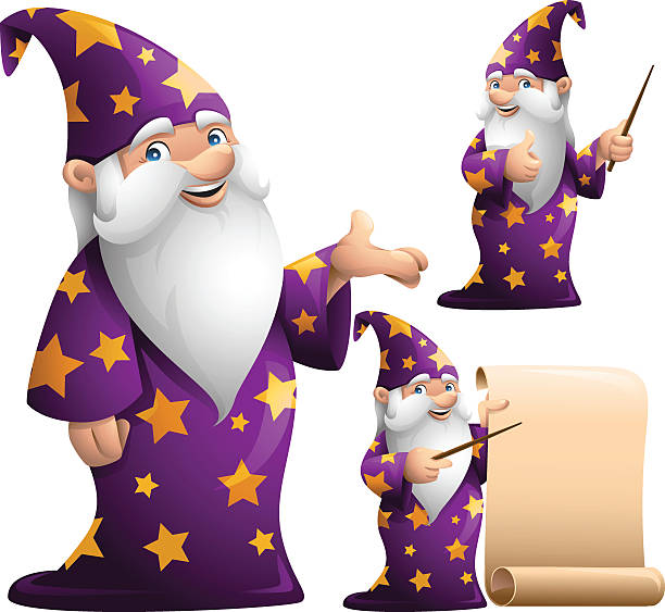 wizard: 3 in 1 - old man showing thumbs up cartoons stock illustrations, clip art, cartoons, & icons