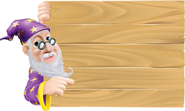 wizard and blank wooden sign - old man long beard cartoons stock illustrations, clip art, cartoons, & icons