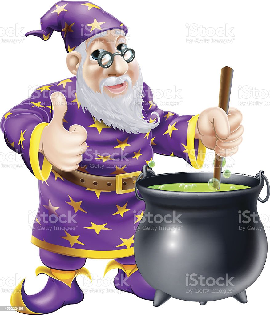 Wizard and cauldron royalty-free stock vector art
