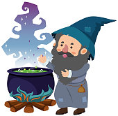 Wizard and magic brew on white background