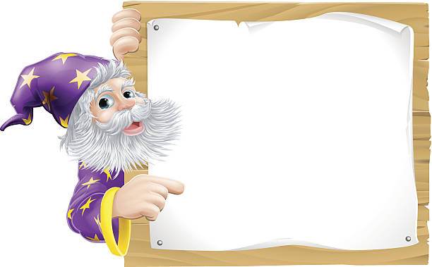 wizard and wooden sign - old man long beard cartoons stock illustrations, clip art, cartoons, & icons