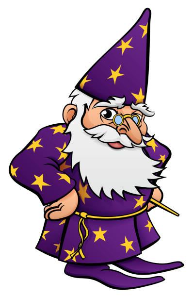 wizard cartoon character - old man long beard silhouettes stock illustrations, clip art, cartoons, & icons