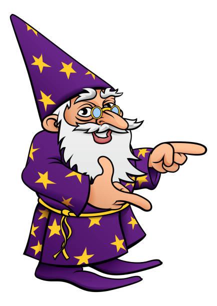 wizard cartoon mascot pointing - old man long beard silhouettes stock illustrations, clip art, cartoons, & icons