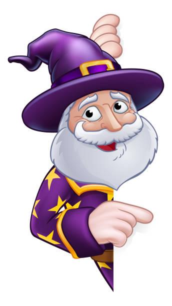 wizard cartoon peeking round sign pointing - old man long beard silhouettes stock illustrations, clip art, cartoons, & icons
