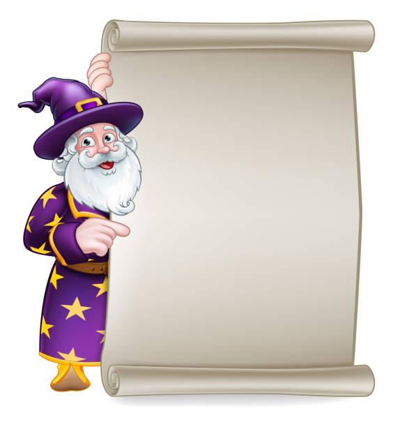 wizard cartoon scroll banner sign - old man long beard silhouettes stock illustrations, clip art, cartoons, & icons