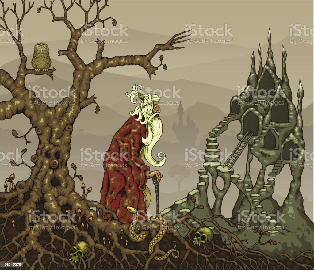 Wizard Climbing Stairs in Magical Landscape royalty-free wizard climbing stairs in magical landscape stock vector art & more images of adult