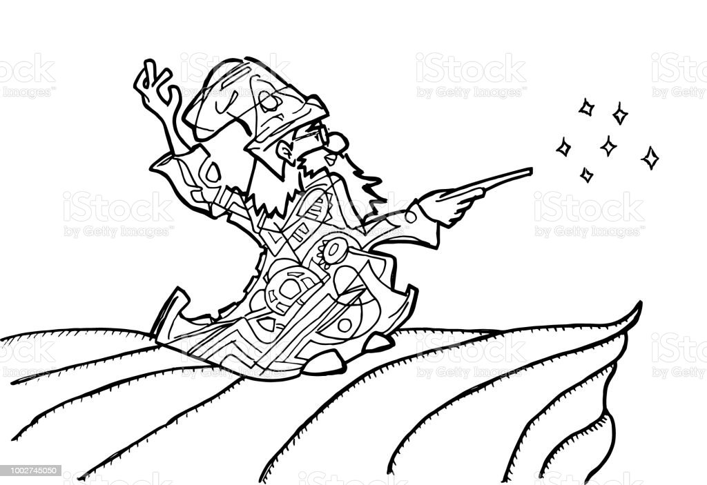 Wizard Coloring Page Stock Vector Art More Images Of Abstract
