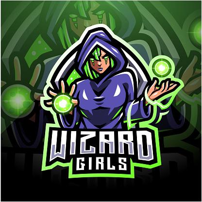 Wizard girls esport mascot logo design