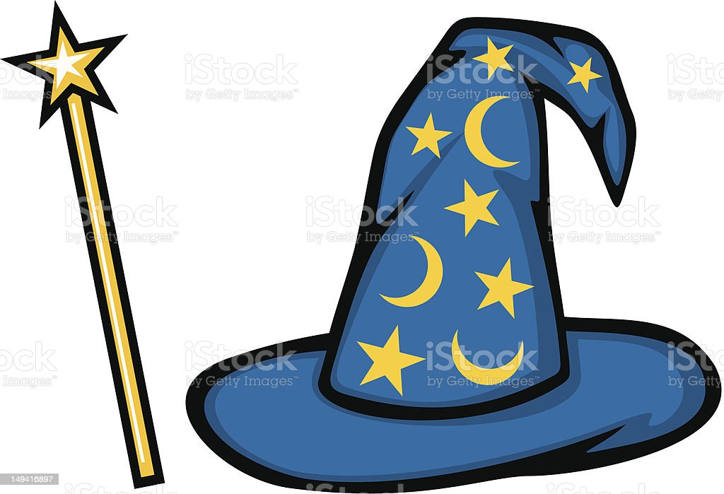 royalty free blue wizard hat clip art vector images