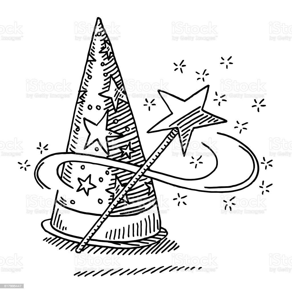 Wizard Hat Magic Wand Star Drawing Royalty Free Stock Vector Art