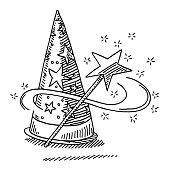 Wizard Hat Magic Wand Star Drawing