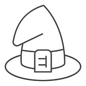 Wizard hat thin line icon, halloween concept, witch hat sign on white background, magic cap for halloween costume icon in outline style for mobile concept and web design. Vector graphics