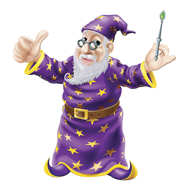 wizard illustration - old man showing thumbs up cartoons stock illustrations, clip art, cartoons, & icons