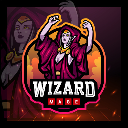 Wizard mage mascot. sport symbol design