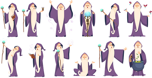 Wizard. Mysterious male magician in robe spelling oldster merlin vector cartoon characters