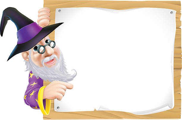 wizard pointing at sign - old man long beard cartoons stock illustrations, clip art, cartoons, & icons