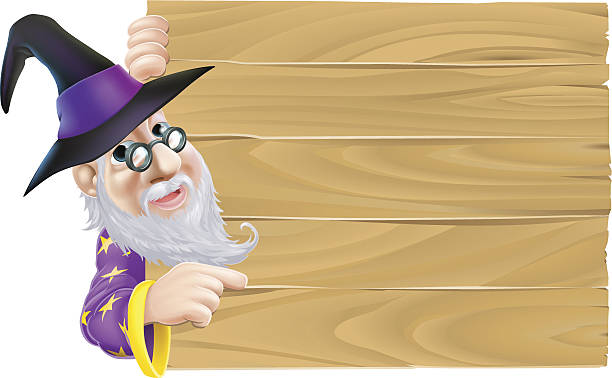 wizard pointing at wood sign - old man long beard cartoons stock illustrations, clip art, cartoons, & icons
