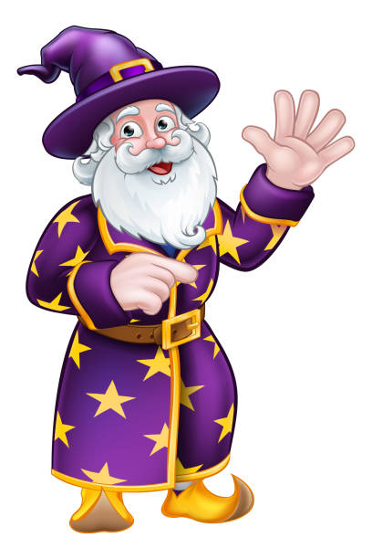 wizard pointing cartoon character - old man long beard silhouettes stock illustrations, clip art, cartoons, & icons