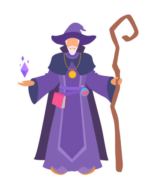 A wizard stands with a staff. Man without a face. Vector simple style illustration isolated on white background. one senior man only illustrations stock illustrations