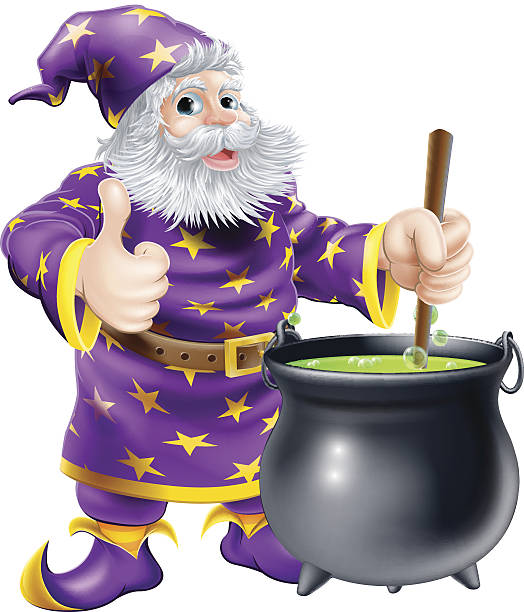 wizard stirring cauldron - old man long beard drawing stock illustrations, clip art, cartoons, & icons